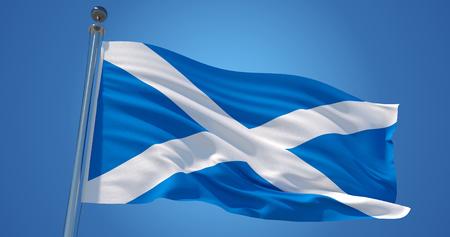 Flatternde Seidenflagge von Schottland. Schottische offizielle Flagge im Wind gegen den klaren blauen Himmel. 3D-Rendering Standard-Bild