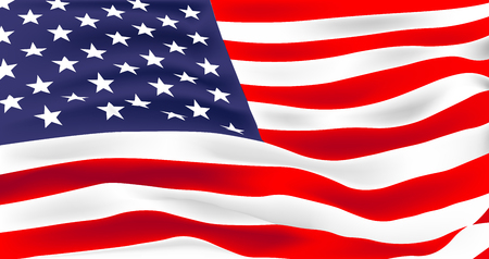 Vector flag of United States of America. Waving flag of USA, vector illustration