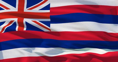 Flag of Hawaii, high quality realistic 3d illustration