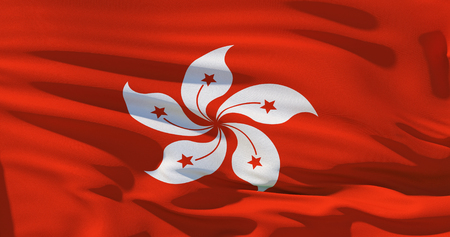 Hong Kong flag on silk texture background. High quality 3d illustration.