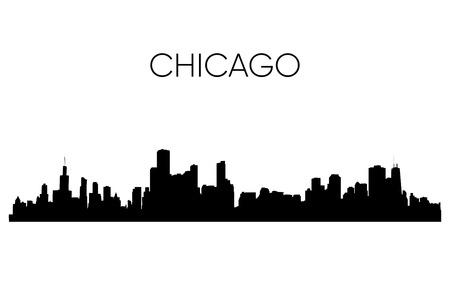 Chicago skyline silhouette. Vector illustration. Black and white 向量圖像
