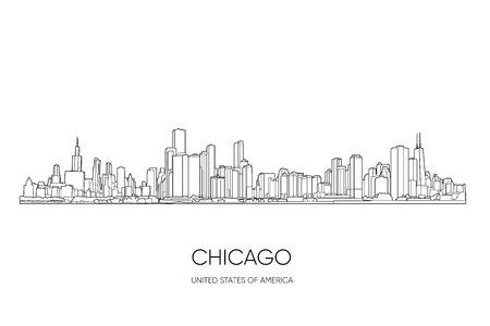 Chicago skyline, Illinois, USA. Hand drawn vector illustration, perfect for postcards or souvenirs. Black and white outlines  イラスト・ベクター素材
