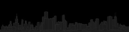 Chicago skyline, Illinois, USA. Hand drawn vector illustration, perfect for postcards or souvenirs. Black and grey outlines Ilustração