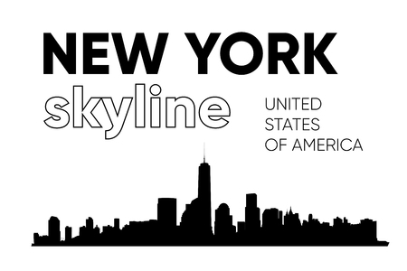 New York skyline silhouette. Vector illustration. Black and white