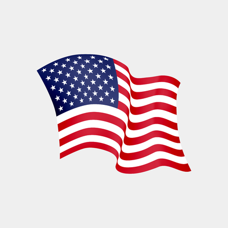 United States of America waving flag. Vector illustration. US waving flag. Stars and Stripes fluttering. Old Glory in the wind Illustration