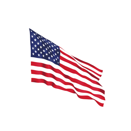 United States of America waving flag. Vector illustration. US waving flag. Stars and Stripes fluttering. Old Glory in the wind 일러스트