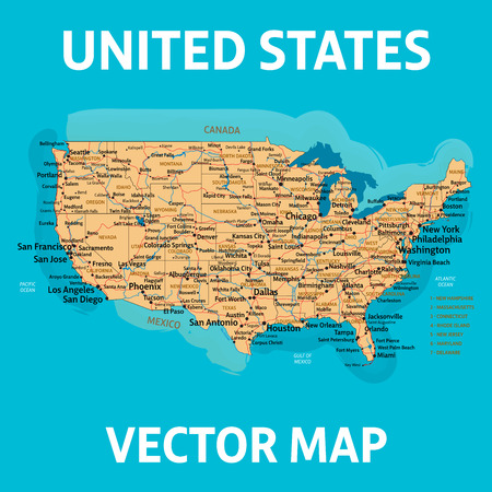 Vector map of United States of America with states, cities, rivers, lakes and highways on separate layers. High quality vector illustration