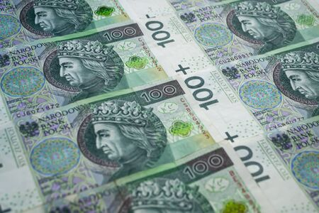 Polish zloty banknotes. One hundred zloty banknotes from top. Bank of Poland Reklamní fotografie