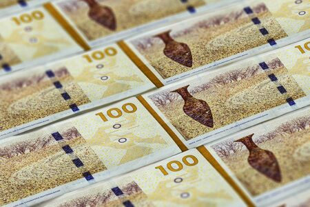 Money of Denmark. Et nundrede kronor. One hundred Danish Krone background Reklamní fotografie