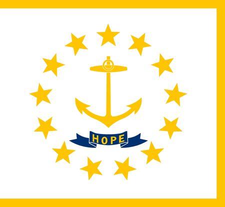 Rhode Island state flag. Vector illustration. United States of America