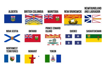 Vector flags of provinces and territories of Canada. Vector illustration. Ottawa, Toronto, Vancouver