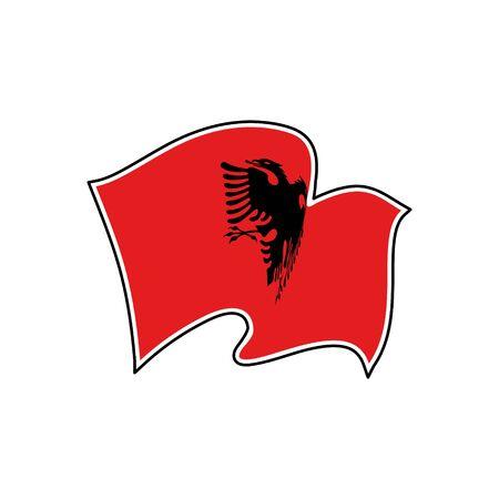 Vector flag of Albania. Albania national flag. Vector illustration. Tirana