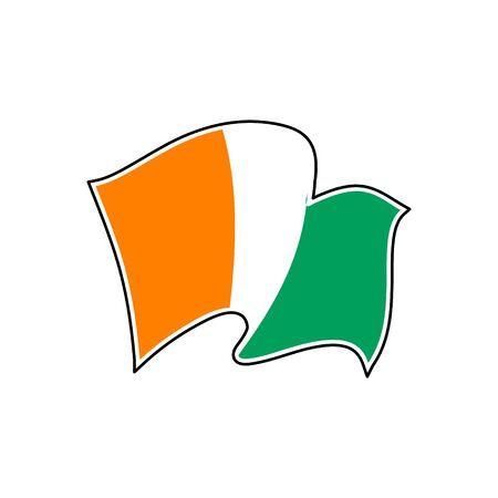 The flag of Republic of Côte d'Ivoire. Vector illustration. Drapeau de la Côte d'Ivoire