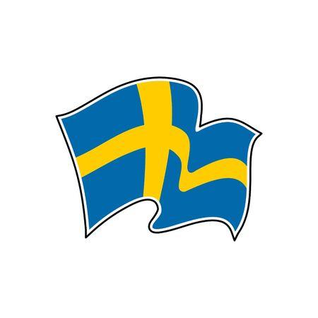 The flag of Sweden. Vector illustration. Sveriges flagga. Nordic cross, national symbol of Sweden. Stockholm.