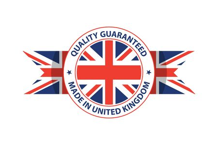 Made in U.K. quality stamp. Union Jack. Great Britain. Vector illustration