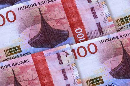 Norwegian currency. Money of Norway closeup background. Hundre kronor Reklamní fotografie