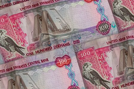 United Arab Emirates Dirham banknotes background. UAE Dirhams pattern. 100 dirhamss, Zayed
