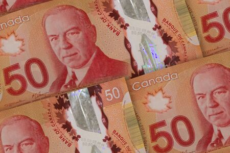 Canadian money background. Canada dollars pattern. CAD. 50 dollars closeup photo