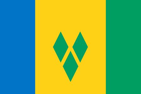 Vector flag of Saint Vincent and Grenadines. Eps 10 Vector illustration. Kingstown