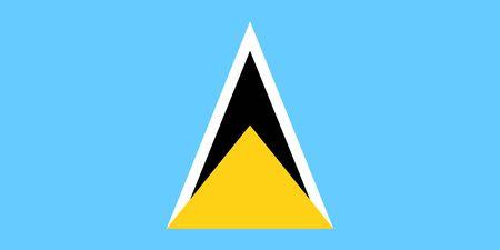 Vector flag of Saint Lucia. Eps 10 Vector illustration. Castries