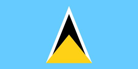 Vector flag of Saint Lucia. Eps 10 Vector illustration. Castries