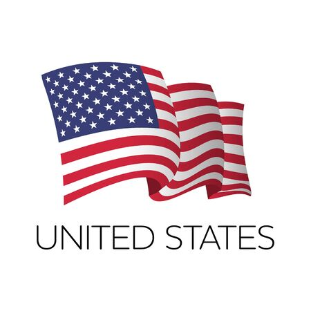 United States vector flag. Fluttering flag of US. Independence Day. 4th July. EPS 10