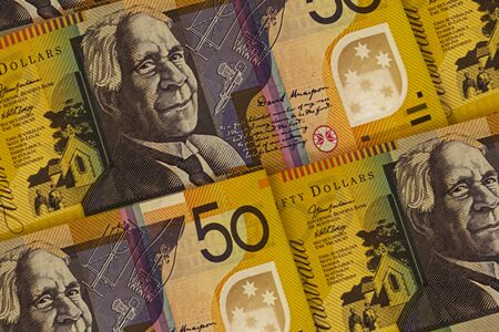 Closeup Australian dollars banknotes background. AUD pattern. 50