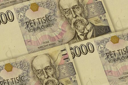Czech koruna banknotes background. CZK pattern. 5000 CZK