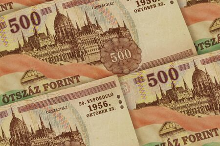 Hungary currency background. HUF pattern. Hungary forints banknotes