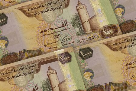 United Arab Emirates currency background. AED pattern. Dubai, Abu Dhabi