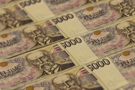 Czech koruna banknotes background. CZK pattern. 5000 CZK