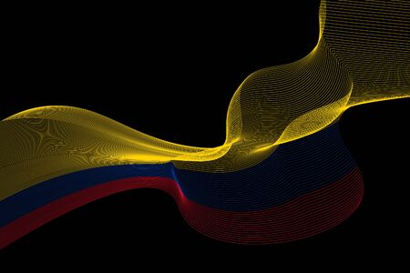 Abstract lines vector background. Colours of Colombia flag. Eps10.