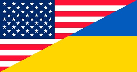 Ukrainegate illustration. Flags of United States and Ukraine. Political scandal. Vector illustration.