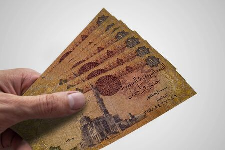 Hand holding Egyptian Pounds. EGP. Currency of Egypt.