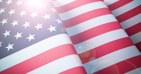 US Flag. Warm matte colors. Old Glory waving patriotic background with lens flare effect. 3d illustration Фото со стока
