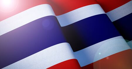 Thailand Flag. Warm matte colors. Thai waving flag patriotic background with lens flare effect. 3d illustration