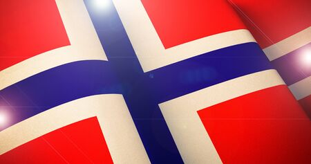 Norwegian Flag. Warm matte colors. Waving flag of Norway patriotic background with lens flare effect. 3d illustration