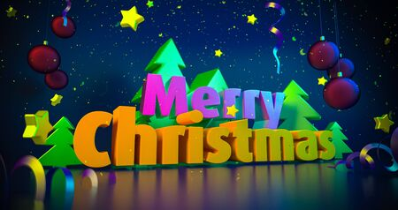 Christmas night colorful background. Greeting cards. Shining 3d illustration. Glowing stars with bright Merry Christmas wishes. Christmas snowflakes. 4K quality