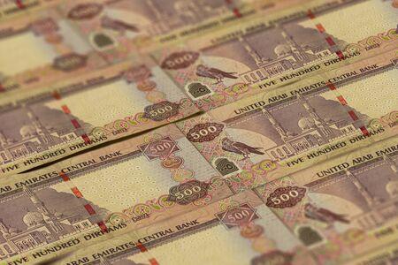 United Arab Emirates Dirham banknotes background. UAE Dirhams pattern. 500 dirhams
