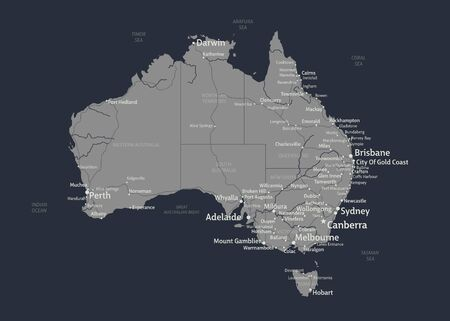 Vector map of Australia with states, cities, rivers and seas on separate layers. High detalization.