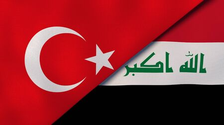 Turkey Iraq national flags. News, reportage, business background. 3D illustration.