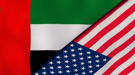 United Arab Emirates USA national flags. News, reportage, business background. 3D illustration.