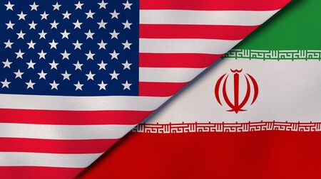 United States Iran national flags. News, reportage, business background. 3D illustration.