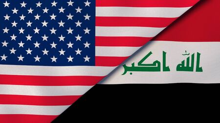 United States Iraq national flags. News, reportage, business background. 3D illustration.