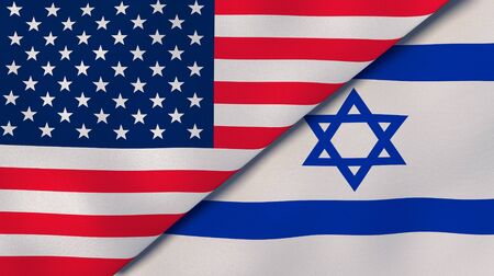 United States Israel national flags. News, reportage, business background. 3D illustration.