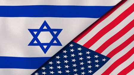 Israel USA national flags. News, reportage, business background. 3D illustration.