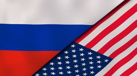 Russia United States national flags. News, reportage, business background. 3D illustration.