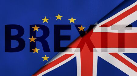 Brexit. EU and UK flags, breaking news background. High quality 3d illustration 版權商用圖片 - 138965822