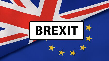 Brexit. EU and UK flags, breaking news background. High quality 3d illustration 版權商用圖片