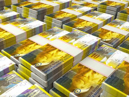 Currency of Switzerland. Finance background. Zurich. CHF. Swiss Franc. Stock Photo